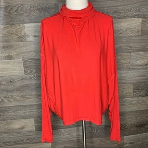 We the Free Free People Red Ribbed Turtleneck